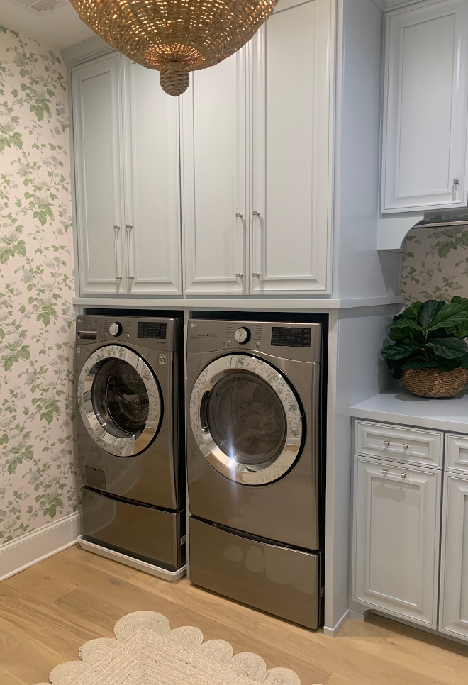 Laundry room cabinets are Benjamin Moore Brittany Blue at 50% lighter #BenjaminMooreBrittanyBlue #BenjaminMoore #laundryroom #cabinet