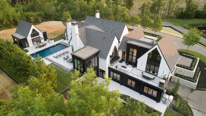 Modern-Farmhouse-with-Pool-House-Aerial-View