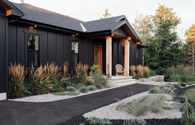 Moody Exterior Moody Home Black Home Siding Black Farmhouse My favourite aspect to every home I design is the exterior It's the moment you can play with texture colour and contrast Moody Exterior Moody Home Black Home Siding Black Farmhouse #MoodyExterior #MoodyHome #BlackHome #BlackSiding #BlackFarmhouse