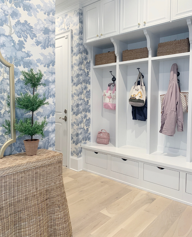 Mudroom Wallpaper We just wallpapered our mudroom and it made such a huge transformation I can't believe the difference wallpaper makes #mudroom #wallpaper