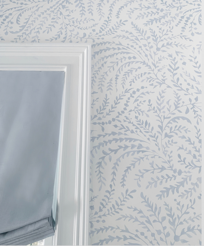 Priano Wallpaper It's hard to see the detail of this gorgeous light blue and white watercolor vine wallpaper unless you get a closeup picture I love the whimsical coastal light and airiness of it #wallpaper