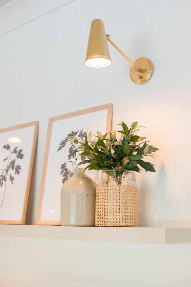 Revere Pewter by Benjamin Moore shelf over a white wall painted in Benjamin Moore Simply White #ReverePewterbyBenjaminMoore #shelf #BenjaminMooreSimplyWhite #BenjaminMoore