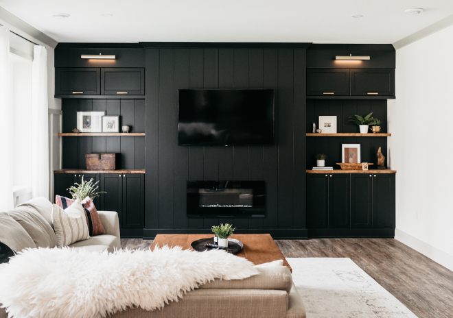 TV Room Basement TV Room Black Cabinet We did built-ins for storage for movies and board games but also to hide the TV so it remains the focal point of the room but visually it does not stand out TV Room Basement TV Room Black Cabinet TV Room Basement TV Room Black Cabinet #TVRoom #Basement #BasementTVRoom #BlackCabinet