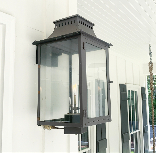 The number one thing on my husbands must have list when we were building our home was gas lanterns I am so glad that was a must for him and think they are the perfect way to escalate a front porch