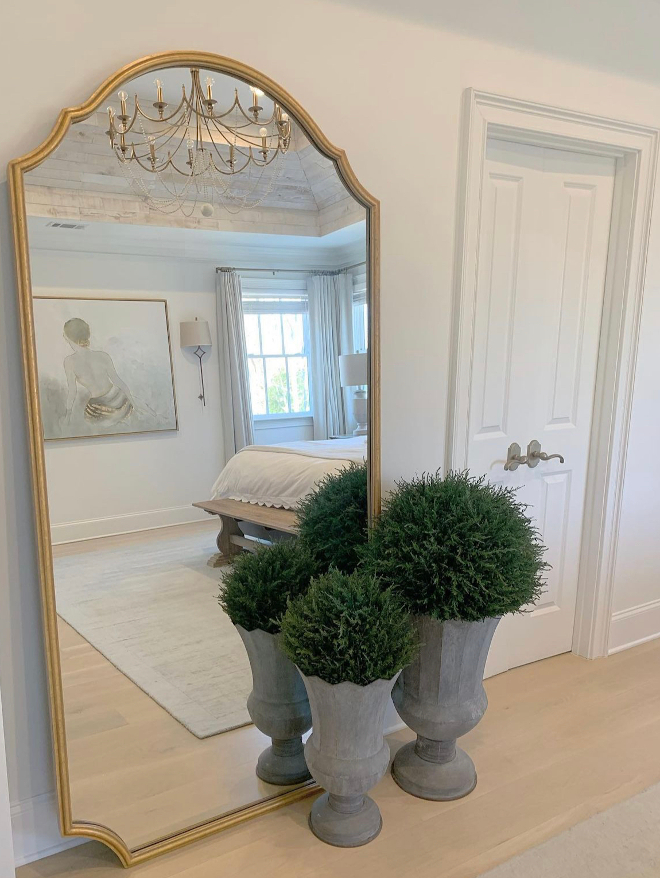 This floor mirror is so grand and elegant. I love that it takes up most of the space on the large empty wall I didn't know what to do with #mirror #floormirror