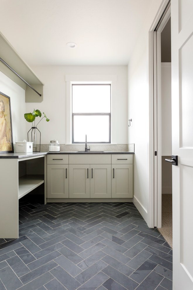This grey Laundry room features one of my favorite natural Slate tiles in Herringbone pattern Grey laundry room This grey Laundry room features one of my favorite natural Slate tiles in Herringbone pattern Grey laundry room This grey Laundry room features one of my favorite natural Slate tiles in Herringbone pattern Grey laundry room #greyLaundryroom #naturaltile #Slatetile #Herringbonetile #laundryroom