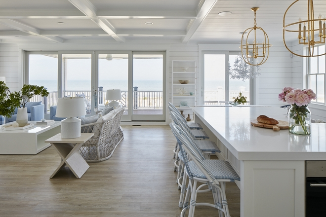 Coffered Ceiling Tongue and Groove Ceiling The kitchen and great room open floor plan are cleverly made to feel distinct by creating different ceilings #CofferedCeiling #TongueandGrooveCeiling #kitchen #greatroom #openfloorplan #ceilings