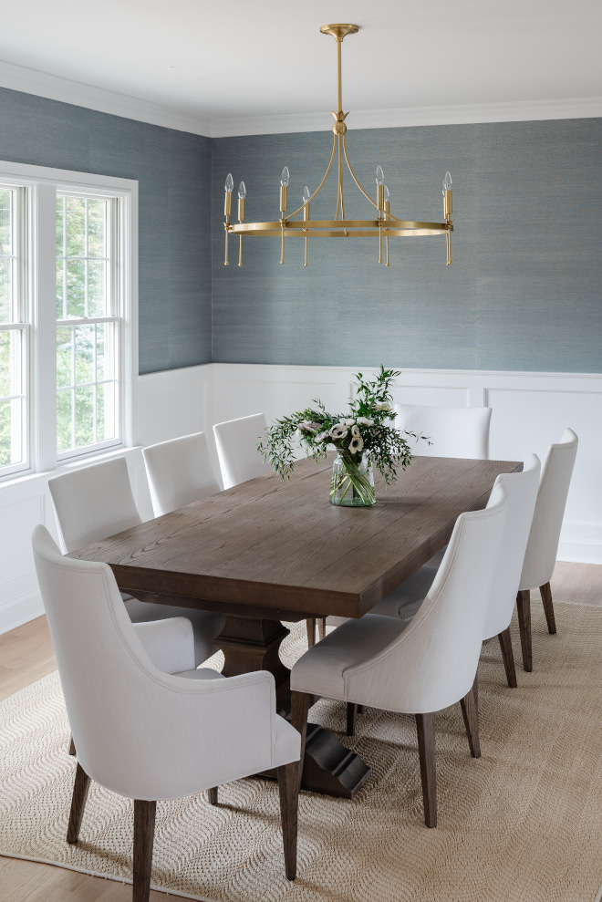 Grasscloth dining room Grasscloth dining room To the left is the formal dining room with soft blue grasscloth wallpaper and moldings Grasscloth dining room Grasscloth dining room To the left is the formal dining room with soft blue grasscloth wallpaper and molding ideas #Grasscloth #diningroom #Grassclothwallpaper #diningroomwallpaper #softbluegrasscloth #bluegrasscloth #wallpaper #moldings