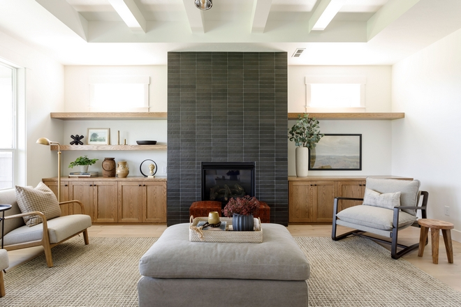 Fireplace Cabinets and floating shelves are Oak stained in Sherwin Williams Rustic Gray Fireplace Cabinets and floating shelves are Oak stained in Sherwin Williams Rustic Gray #Fireplace #Cabinets #floatingshelves #Oak #SherwinWilliamsRusticGray