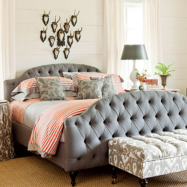 Bedroom Design Ideas. Master Bedroom with character. #Bedroom #BedroomDesign Paint Color: Pearly White (SW7009) by Sherwin-Williams