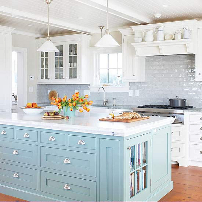 White And Turquoise Kitchen: Home Bunch Interior Design Ideas