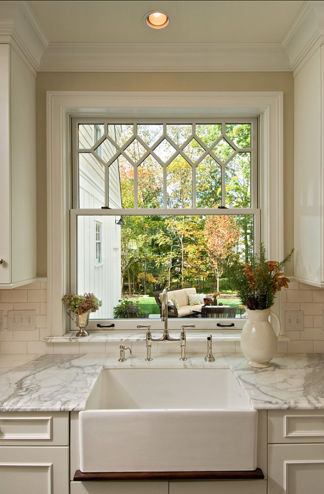 Over The Sink Single Kitchen Window Treatments And Tan Cabinets