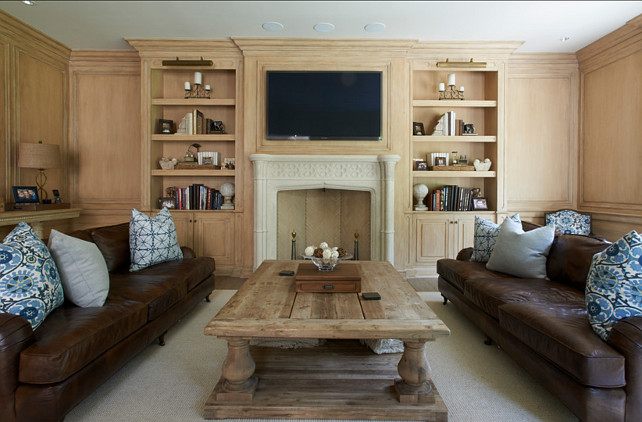 Family Room. Paneled walls in family room. #FamilyRoom #Paneling #Interiors