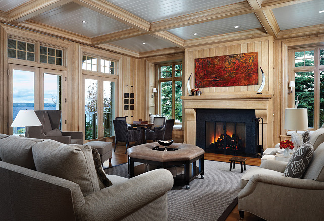 Family Room, Paneled Walls. Beautiful family room with white oak paneling. #FamilyRoom #PaneledWalls