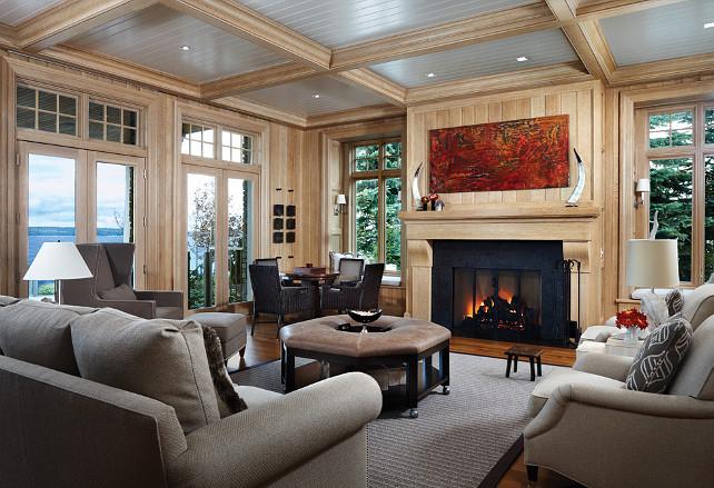 Family Room, Paneled Walls. Beautiful family room with white oak paneling. #FamilyRoom #PaneledWalls