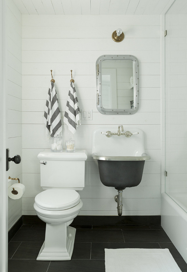 Nautical Bathroom. Nautical Bathroom Design. Nautical Bathroom features white plank ceiling over walls clad in tongue and groove panels framing. Restoration Hardware Submarine Inset Medicine Cabinet. #Nautical #Bathroom