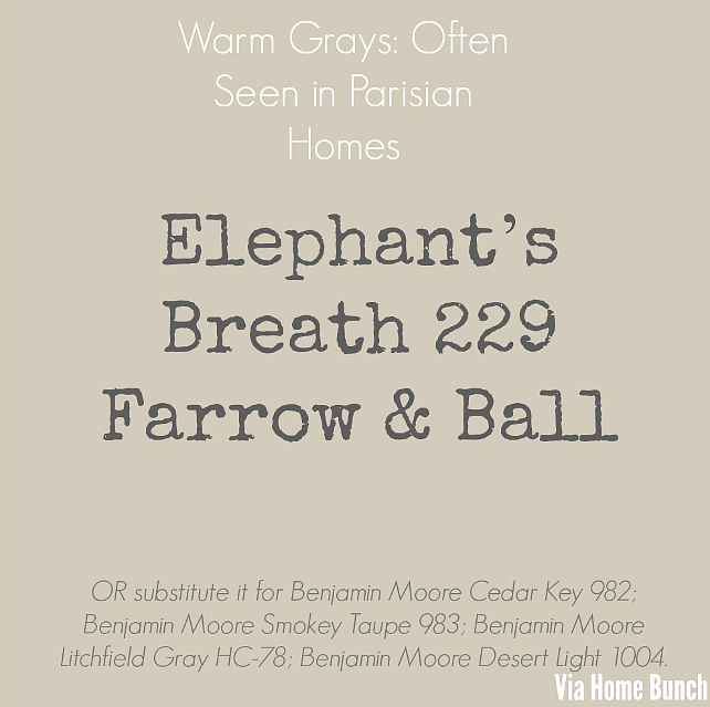 Elephant's Breath 229 Farrow & Ball. Warm Grays: often seen in Parisian homes - Elephant's Breath 229 Farrow & Ball. OR substitute Benjamin Moore Cedar Key 982; Benjamin Moore Smokey Taupe 983; Benjamin Moore Litchfield gray HC-78; Benjamin Moore Desert Light 1004. #WarmGray #PaintColor #ElephantsBreath #FarrowandBall #paintColors Via Home Bunch.