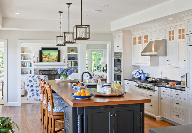 White Kitchen with Navy Blue Island. Navy Kitchen Island. Navy Kitchen Island Paint Color. Navy Kitchen Island Ideas. Navy Kitchen Island Design. Navy Kitchen Island Countertop. Navy Kitchen Island Layout. #NavyKitchenIsland SLC Interiors.