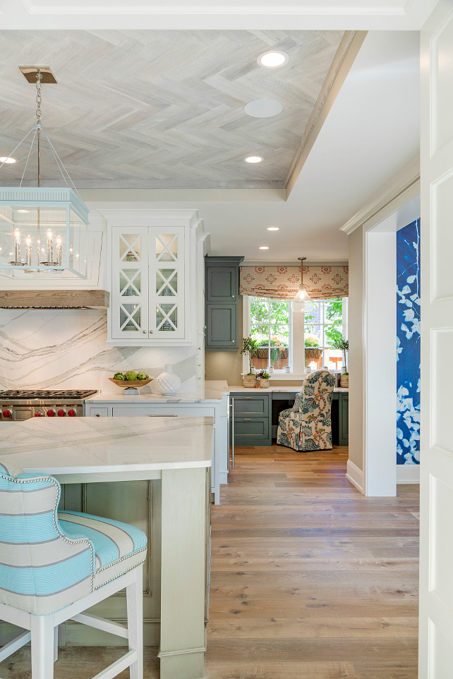 Kitchen Ceiling. Kitchen Ceiling Ideas. Kitchen herringbone ceiling made of rustic reclaimed wood reminiscent of driftwood. #Kitchen #Ceiling #ReclaimedWood #Herringbone #Driftwood Great Neighborhood Homes.