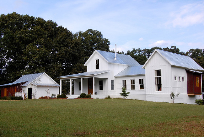 Benjamin Moore Simply White The Color of the Year. Exterior Paint Color. Benjamin Moore Simply White The Color of the Year Home Exterior. White Farmhouse painted in Benjamin Moore Simply White The Color of the Year. Corynne Pless Photgraphy via Houzz.