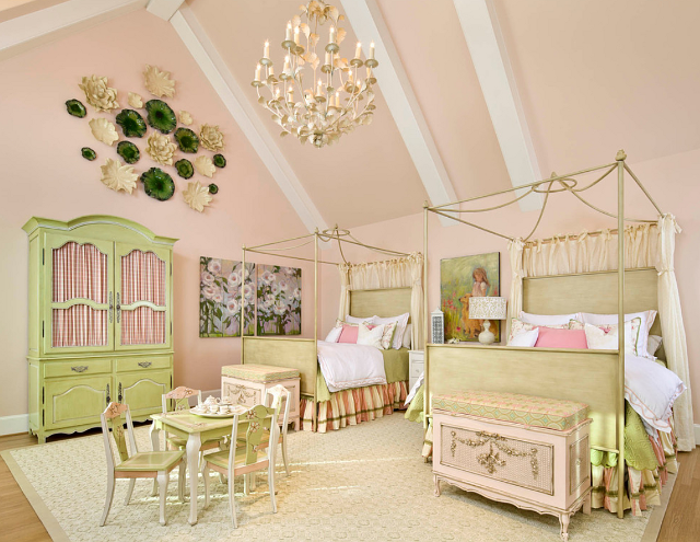 Dallas mansion home bunch interior design ideas for Pink and green kids room