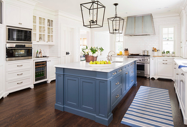 "Top Blue Island Pin: ""Blue Kitchen Island Paint Color"". Benjamin Moore Van Deusen Blue HC-156. Blue Kitchen Island Paint Color is Benjamin Moore Van Deusen Blue HC-156. White Kitchen with Blue island paint color. #BenjaminMooreVanDeusenBlue #kitchen #BlueIsland #paintColor #BenjaminMoorePaintColors #TopPin #TopBlueIslandPin #BlueKitchenIslandPaintColorPicture"