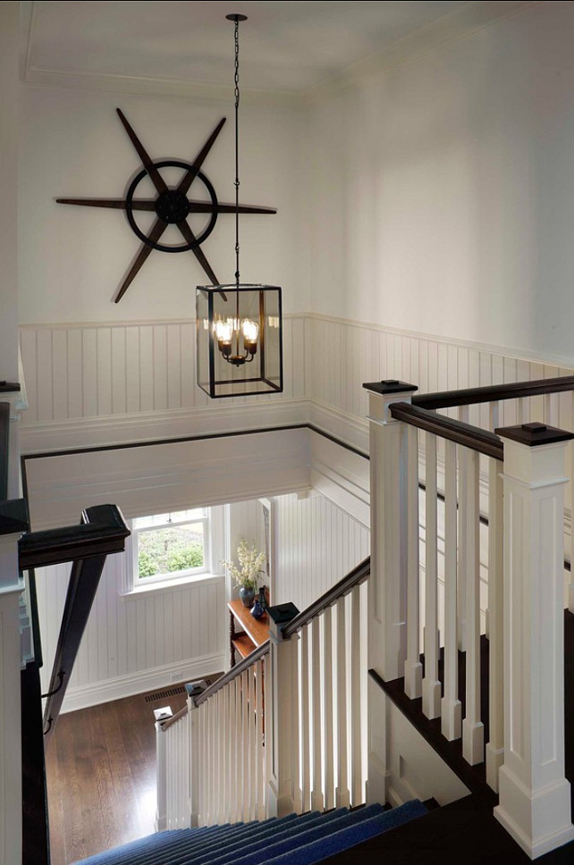 Staircase. Great idea for a costal home staircase. #Staircase #Coastal #Nautical #Homes
