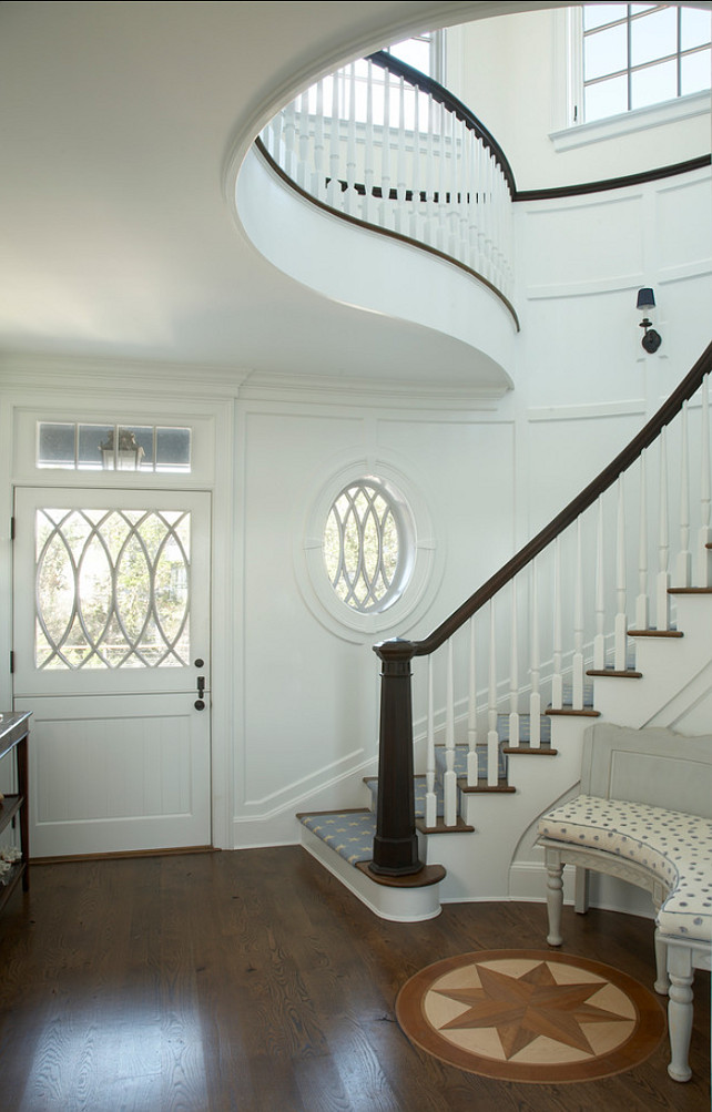 Entryway. Coastal Inspired Entryway with stunning staircase details. #Entryway