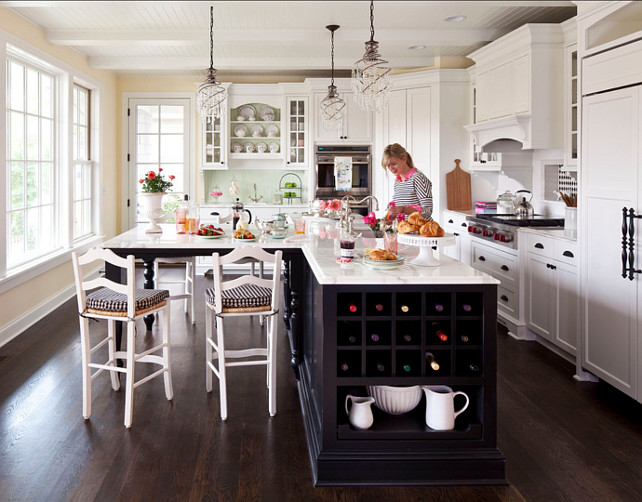 Kitchen Island. I love the contrast of dark-stained kitchen island with white cabinets.#KitchenIsland