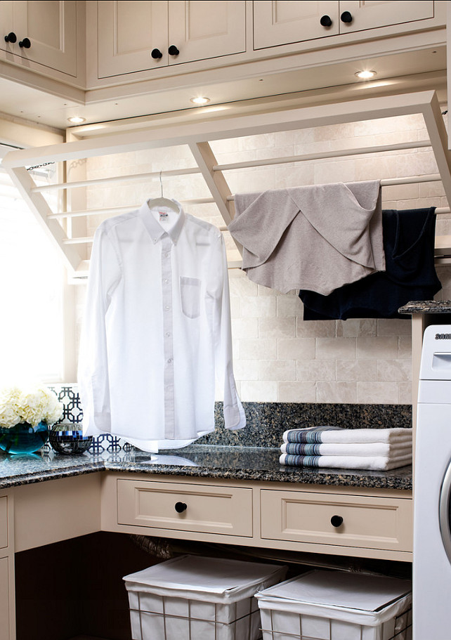 Laundry Room Drying Rack Ideas. Great drying rack in this laundry room. #DryingRack #DIYIDEAS #LaundryRoom
