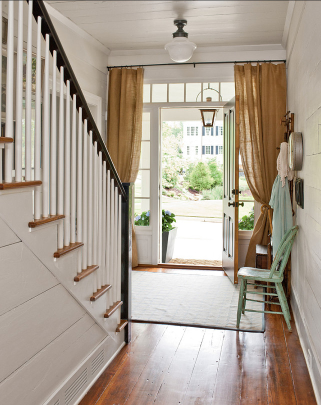 "Entryway Design Ideas. Casual Entryway Design. #EntrywayDesign #Entryway Ceiling, wall and trim Paint Color: ""Pearly White (SW7009) by Sherwin-Williams"""
