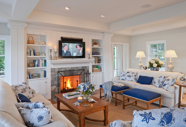 Family room. Coastal Family Room. Coastal Family Room Furniture. Coastal Family Room Decor. Coastal Family Room Paint color. Coastal Family Room Layout. Coastal Family Room Fireplace. Coastal Family Room Pillows. Coastal Family Room Fireplace Built-in. Coastal Family Room Stone Fireplace. Coastal Family Room White Walls. Coastal Family Room with Blue and White accents. #CoastalFamilyRoom #FamilyRoom SLC Interiors.