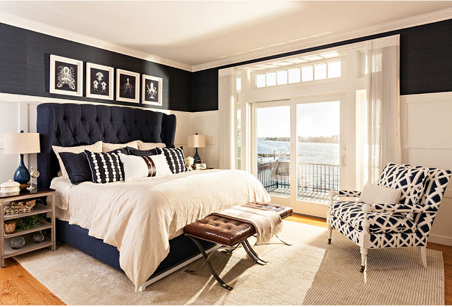 Navy and white bedroom. Navy and white bedroom decor. Navy and white bedroom design. Beach house with Navy and white bedroom. Classic Navy and white bedroom. Navy and white master bedroom. #Navyandwhite #bedroom Casabella Home Furnishings & Interiors.