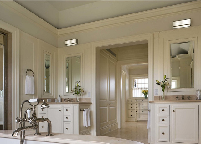 Bathroom Design Ideas. I am loving the off-white paint color in this bathroom. Great color and design! #PaintColor #Bathroom #Offwhite