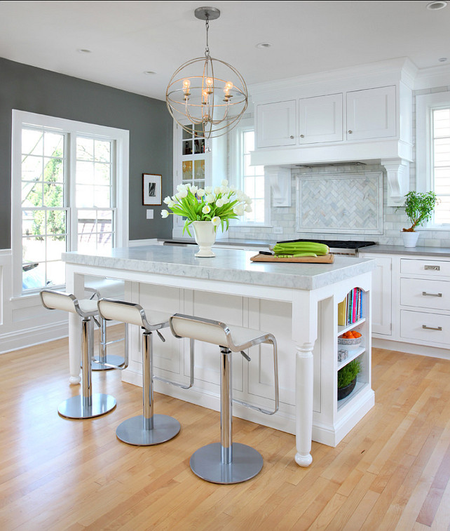 White Kitchen Design. This white kitchen is pure inspiration! I love the paint color on cabinets and walls! #WhiteKitchen #Kitchen #PaintColor