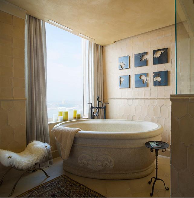 Bathroom Design. Elegant Bathroom Design. #Bathroom #Elegant #BathroomDecor #Interiors #Bathtub #MarbleTub
