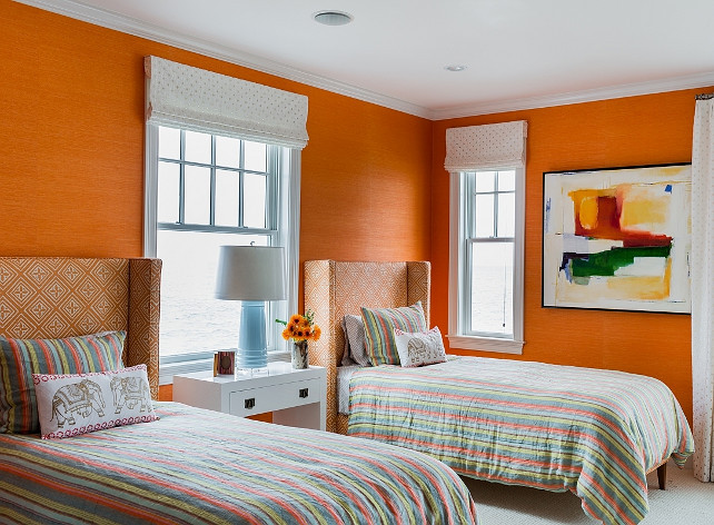 Phillip Jeffries. Phillip Jeffries Grasscloth. Phillip Jeffries Grasscloth Wallpaper. The orange grasscloth wallpaper is the Grasscloth Manila Hemp 5279 in Tangerine by Phillip Jeffries. #PhillipJeffries #Wallpaper #Grasscloth
