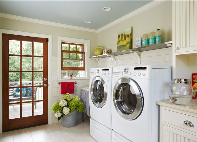 Laundry Room Design Ideas. Great design in this laundry room. I love the open shelves. They're from Ikea. #LaundryRoom