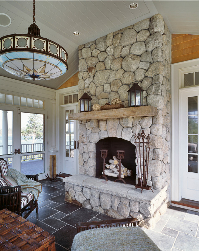 Fireplace. Stone firplace ideas. I like this exterior style fireplace. #Fireplace