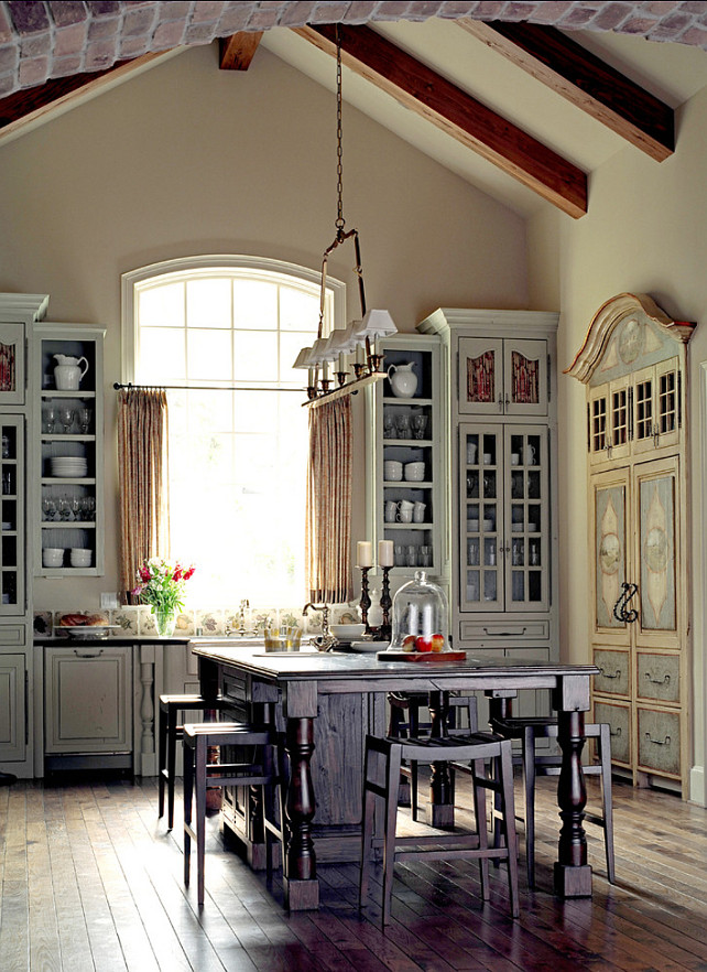 French Kitchen. This is one of the best French Kitchen Design I have seen. I really like how original it looks. Notice the cabinets. #FrenchKitchen #Kitchen
