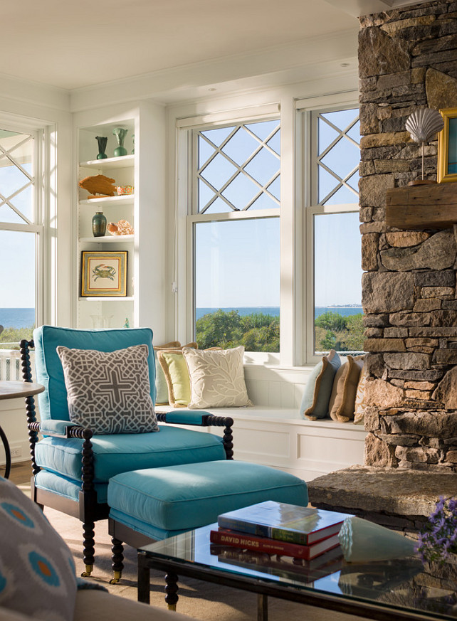 Turquoise Interiors. This cottage has beautiful Turquoise Interiors with paint color specified. Click on the photo to see the post. #Turquoise #Interiors #PaintColor