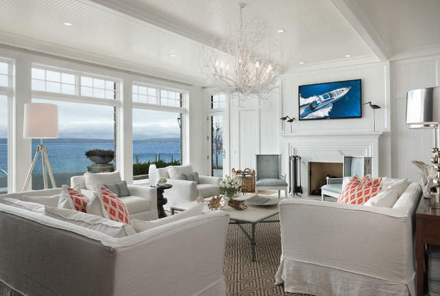 Living Room Design. This living room is very inspiring with the all white and coastal decor. #LivingRoom #LivingRoomDecor #LivingRoomIdeas #CoastalDecor