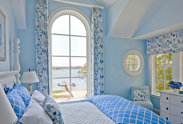 Blue bedroom. Blue bedroom paint color. Blue bedroom ocean view. Blue bedroom curtains. Blue bedroom bedding. Blue bedroom furniture. Blue bedroom white furniture. Blue bedroom decor. Blue bedroom design. Blue bedroom ideas. #Bluebedroom SLC Interiors.