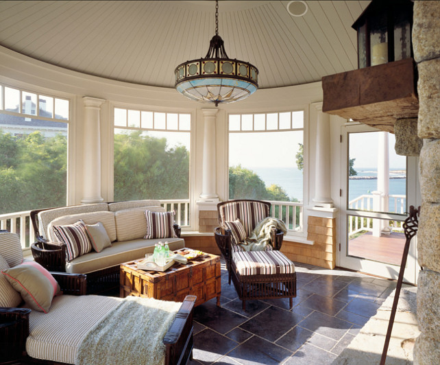 Sunroom. This sunroom is my style. I love the decor and the ocean view! #Sunroom #HomeDecor