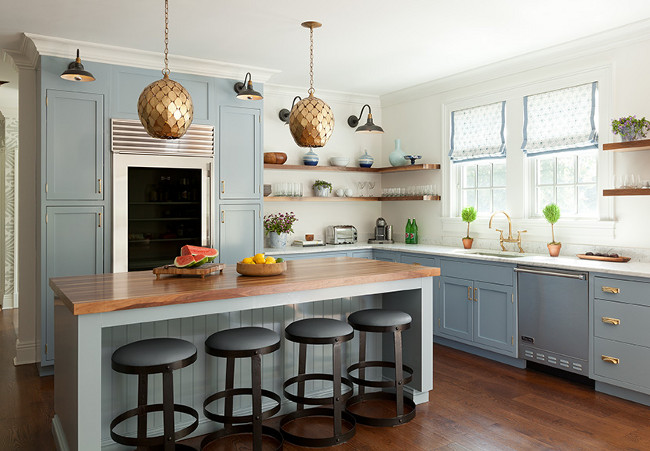 Blue Gray Kitchen. Arteriors Osgood Iron Pendants. Brass Pendant Lighting. Blue Gray Kitchen with shaker cabinets. Transitional Blue Gray Kitchen. Blue Gray Kitchen with shaker cabinets with Arteriors Osgood Iron Pendants. #Arteriors #OsgoodIronPendants #Blue #Gray #Kitchen #ShakerCabinets Anna Burke Interiors.