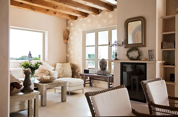 The organic decor makes you feel at ease and relaxed. I especially love the beams. & A House in Mallorca Spain - Home Bunch Interior Design Ideas