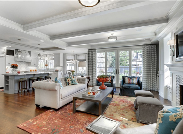 Am loving the decor in this family room the blue chairs are the