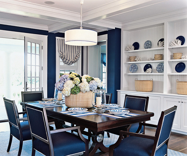 Dining Room. Blue & White Coastal Dining Room. #DiningRoom #Coastal #PaintColor