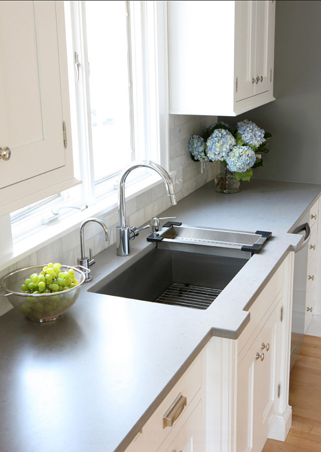 Kitchen Countertop Ideas. The countertop in this kitchen is Caesarstone Pebble. #Kitchen #Countertop