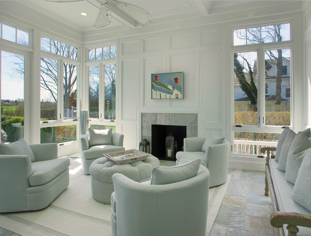 Sunroom. The sunroom is light and decorated with comfortable furniture. #Sunroom